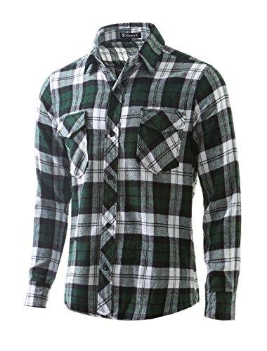 Pockets uxcell Men Shirt Flap Green Flannel K Plaids Allegra w x4q748p
