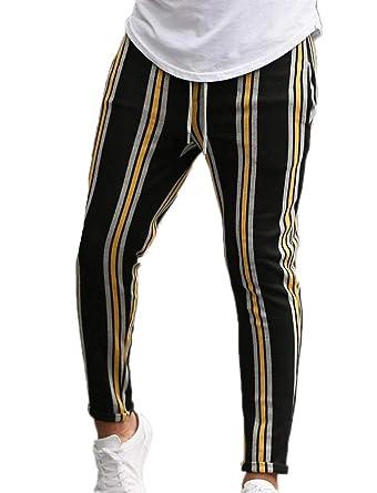 Keepmore Pantalones de chándal a Rayas Multicolores para Hombres ...