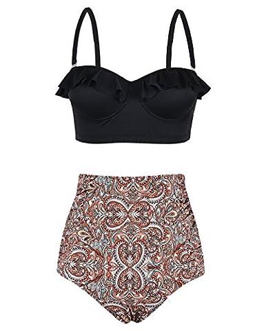 Hilor Women's Retro Ruffle High Waisted Two Piece Tankini Swimsuit Bikini Set Brown Paisley 16 - Brown 2 Piece Bikini Swimsuit