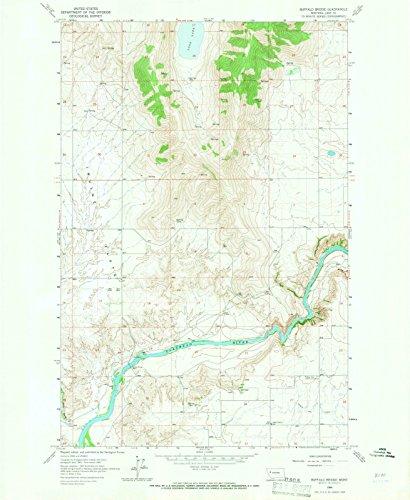 Montana Maps | 1964 Buffalo Bridge, MT USGS Historical Topographic Map | Cartography Wall Art | 44in x 55in