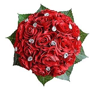Abbie Home Bride Bouquets - Wedding Flower Bouquet Handmade Rose Rhinestone Pearl Bridal Artifical Silk Flower with Different Design (Red) 26