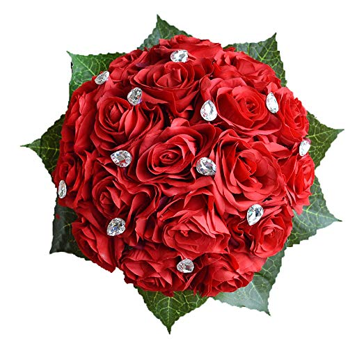 Abbie Home Bride Bouquets - Wedding Flower Bouquet Handmade Rose Rhinestone Pearl Bridal Artifical Silk Flower with Different Design (Red)