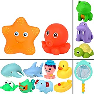 Geyiie Swimming Pool Toys for Babies, 14pcs Fun Baby Bathtub Toy with Fishing Net,Swimming Pool Fishing Toys for Toddlers Boys & Girls and Kids' Gifts for Easter