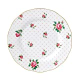 Royal Albert China New Country Roses Cheeky Vintage Salad Plate, 8.3'', White/Pink