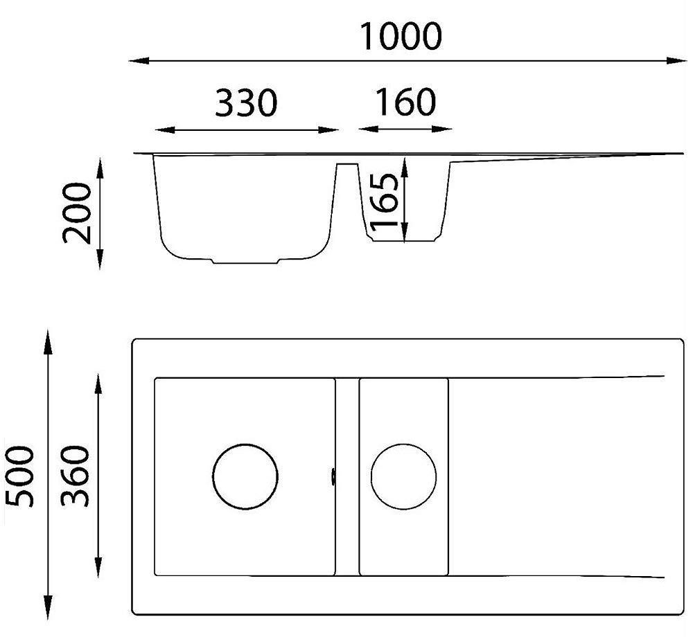 respekta Mineralite Sp/üle K/üchensp/üle Sp/ülbecken Einbausp/üle Denver 100x50 betongrau