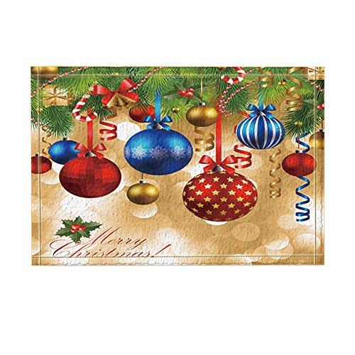 NYMB New Year Decor, Christmas Balls Hang on Pine Tree with Ribbon for Christmas Bath Rugs, Non-Slip Doormat Floor Entryways Indoor Front Door Mat, Kids Bath Mat, 15.7x23.6in, Bathroom Accessories,