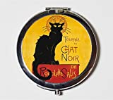 Le Chat Noir Compact Mirror French Advertisement Parisian Cabaret Paris Black Cat Make Up Pocket Mirror for Cosmetics