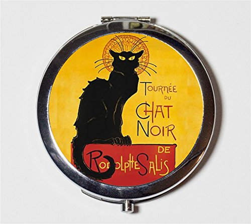Le Chat Noir Compact Mirror French Advertisement Parisian Cabaret Paris Black Cat Make Up Pocket Mirror for Cosmetics by Fringe Pop