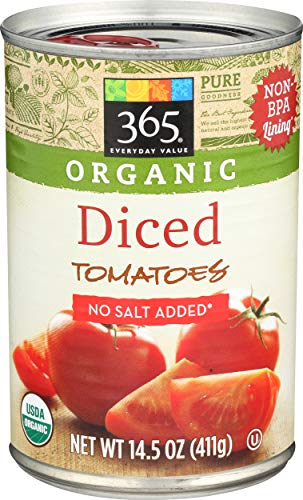 365 Everyday Value, Organic Diced Tomatoes No Salt Added, 14.5 oz (Tomato Canned)