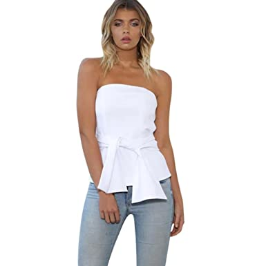 Teresamoon Backless Camisole Deal Womens Sleeveless Bandages Tank Tops T-Shirt (White, US