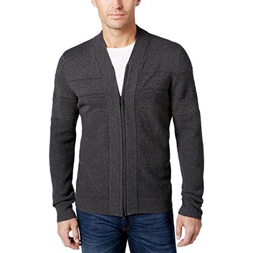 Alfani Mens Waffled Inset Ribbed Trim Full Zip Sweater Gray XXL from Alfani