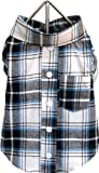FouFou Dog Plaid T-Shirt, Blue, Medium, My Pet Supplies