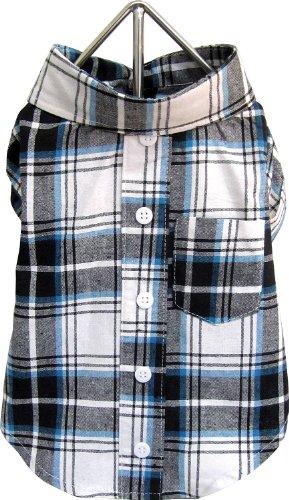 FouFou Dog Plaid T-Shirt, Blue, Medium, My Pet Supplies