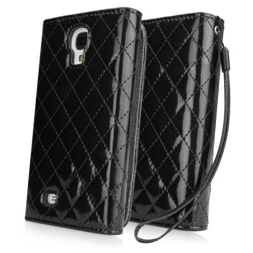 Galaxy S4 Case, BoxWave® [Avery Case] Quilted Shiny Patent Leather Cover for Samsung Galaxy S4 - Jet Black
