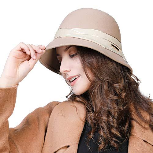 Womens 1920 Vintage Fedora Bowler Cloche Bucket Church Derby Party Hat Felt Wool Winter Floppy Ladies Brown