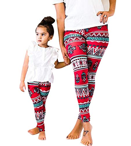 - Mommy&Me Matching 1 Piece Flower Print Leggings Sisters Elastic Waist Spring Fall Winter Outerwear Tights Pants Red (Red, Daughter/3-4T)