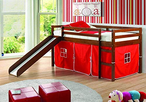 Donco Kids Mission Low Slide Loft Bed Light Espresso/Twin/RED Tent