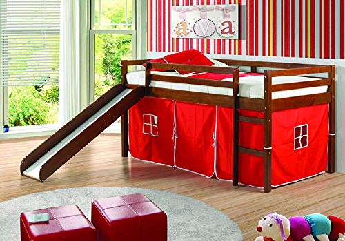 DONCO KIDS Mission Low Slide Loft Bed Light Espresso Twin RED Tent