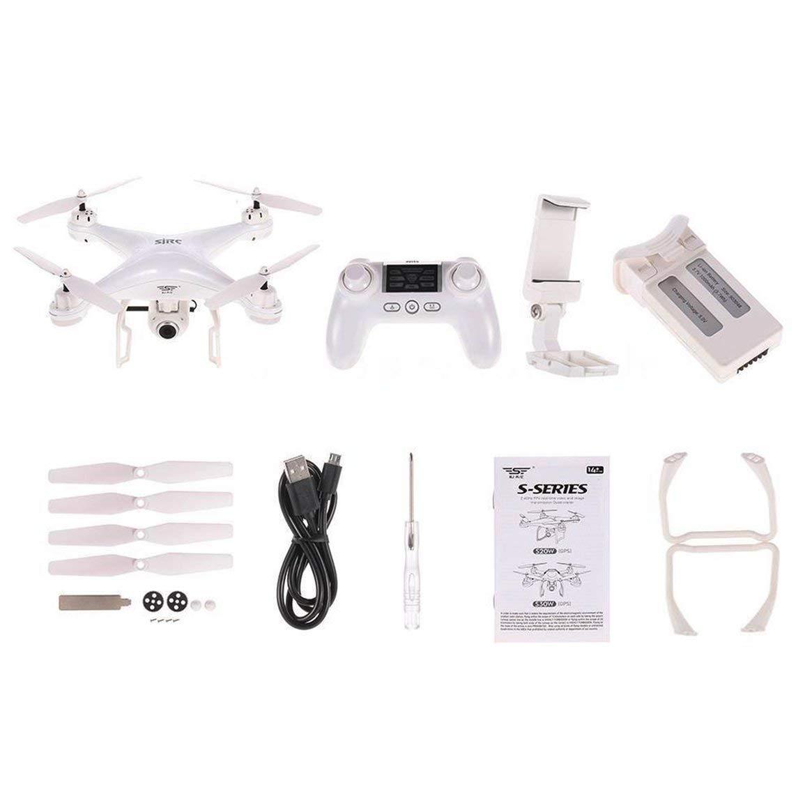 minoristas en línea 4 Ejes 720P S20W Doble GPS GPS GPS dinámico Seguir WiFi FPV Drone Quad Copter 120 Grados Gran Angular RC helicópteros Aviones - Blanco  los nuevos estilos calientes