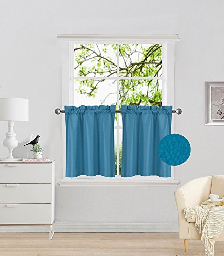 (Elegant Home 2 Panels Tiers Small Window Treatment Curtain Insulated Blackout Drape Short Panel 30