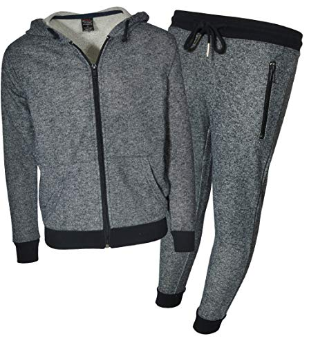 Galaxy by Harvic Boys 2-Piece Active French Terry Hoodie and Jogger Set (Heather Charcoal, Small)'