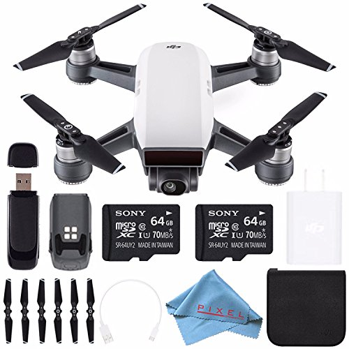 DJI Spark Quadcopter (Alpine White) CP.PT.000731 + Sony 64GB microSDXC + Card Reader + Fibercloth Bundle