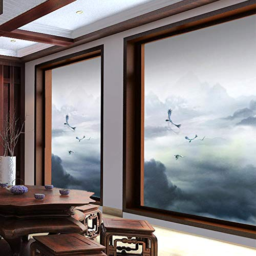Viento Chino Etiquetas de Vidrio Ventana de La Ventana Puerta Corredera Puerta de Vidrio Paisaje Translúcido Opaco Película China A3: Amazon.es: Hogar