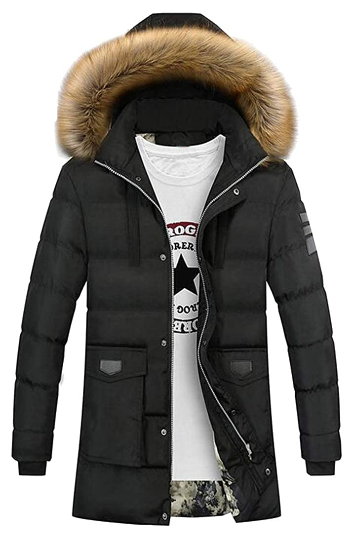 Jotebriyo Men Plus Size Thicken Faux Fur Hooded Warm Longline Fall Winter Quilted Jacket Coat Outerwear