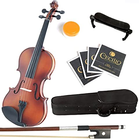Mendini 4/4 MV300 Solid Wood Satin Antique Violin with Hard Case, Shoulder Rest, Bow, Rosin and Extra Strings (Full (Tuner For Stringed Instruments)