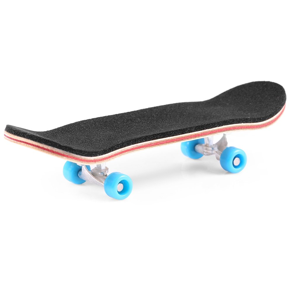 Mini Finger Skateboard – Wooden Finger Board Ultimate Sport Training Props in Light Brown with Ball Bearings -1 Pack (Random Color Bearing Wheels)