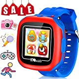Smart Watches for Kids with Games Camera 1.5'' Touch LCD Girls Boys Wristwatch Digital Timer Pedometer Alarm Activity Health Tracker Fitness Sport Watch Indoor Outdoor Children Idea Gift (Blue Robot)