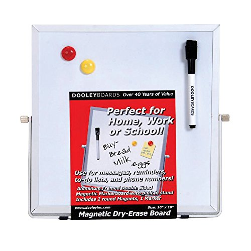 Dooley Aluminum Framed Double Sided Magnetic Dry Erase Board with Easel Stand, 10 x 10 inches (1010MGEA)