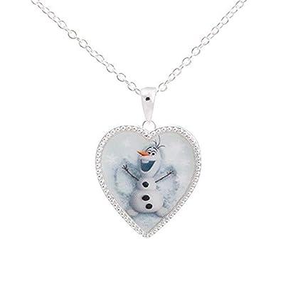Amazon Com Disney S Frozen Silver Tone Olaf Heart Pendant Necklace