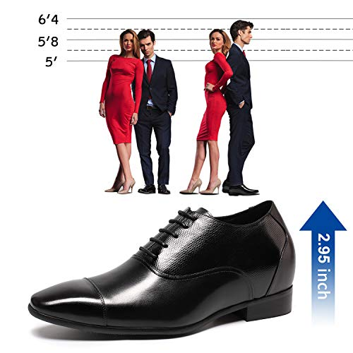 1e0b15078d02b CHAMARIPA Elevator Shoes Tuxedo Leather Dress Height Increasing Shoes 2.96  Inch Taller K4022 US 9 - FrenzyStyle