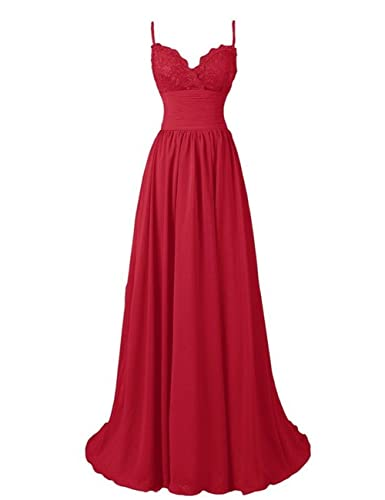 Marsen Women's Long A-Line Floor Length Straps Sweetheart Lace Chiffon Prom Dress with Hand-Sewn beads