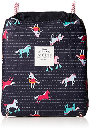 Joules Girls Rubber Drawstring Drybag One Size French Navy Sea Pony