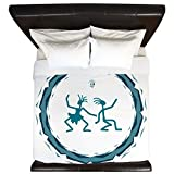 King Duvet Cover Primitive Dancing Duo Teal