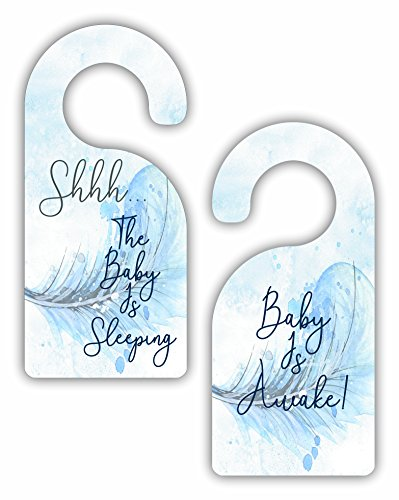 Shhh Baby is Sleeping - Baby is Awake! - Boys/Unisex Nursery Room Door Sign Hanger - Double Sided - Hard Plastic - Glossy Finish by Jacks Outlet