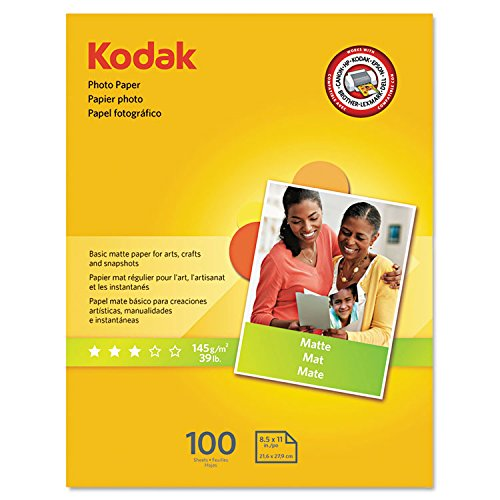 "Kodak Photo Paper for inkjet printers, Matte Finish, 7 mil thickness, 100 sheets, 8.5"" x 11"" (Inkjet Photo Paper)"