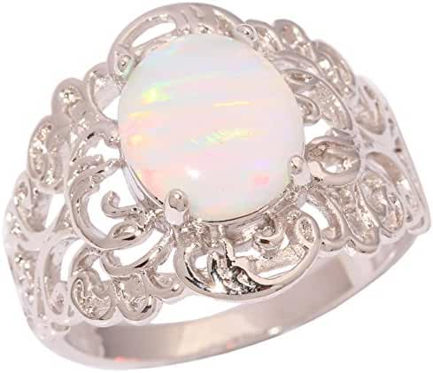 CiNily Rhodium Plated Created White Fire Opal Women Jewelry Gemstone Ring Size 6-10