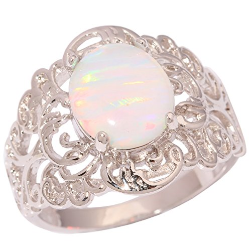 CiNily Rhodium Plated Created White Fire Opal Women Jewelry Gemstone Ring Size 10 ()
