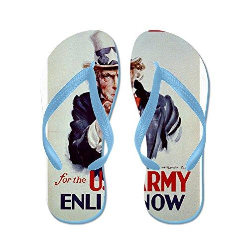 Cafepress Ik Wil Jou Voor Het Amerikaanse Leger - Anoniem - 1941 - Po - Flip Flops, Grappige Leren Sandalen, Strand Sandalen Caribbean Blue