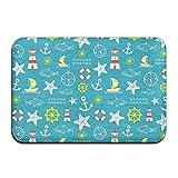 Seamless Nautical Starfish Boat Antiskid Carpet Mat Rug for Indoor/Front Door/Bathroom/Kitchen