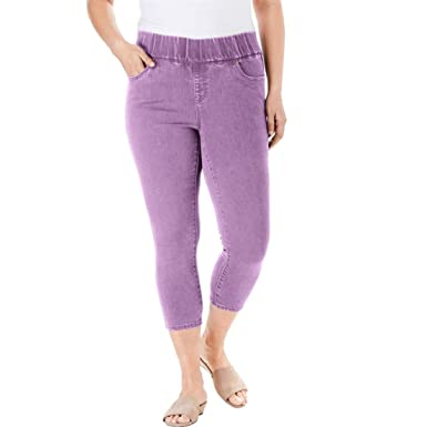 cdfa0301c41 Jessica London Women s Plus Size Comfort Waist Capris at Amazon ...