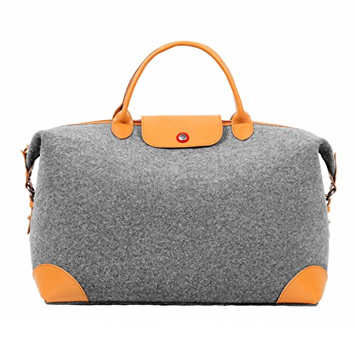 (TOPHOME Large Unisex's Weekender Duffel Bag Oversized Travel Tote Luggage Bag Sports Gym Water Resistant Wool Felt with Genuine Leather Holder)