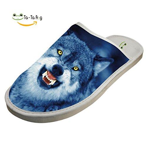 Custom Slip (BEAUTYSLIPPERS Scary Night Wolf Howl Lovers Custom Comfort Winter Warm House Slippers Indoor Slip Shoes 9 D(M) US)