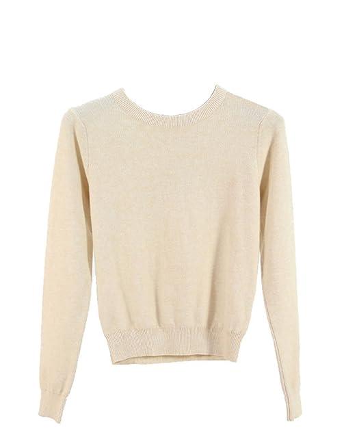 Mujer Jersey Básico De Suave Color Sólido Suéter Mangas Largas Cortas   Amazon.es  Ropa y accesorios 81141acf0c50