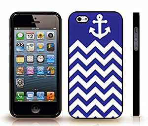 iStar Cases? iPhone 4 Case with Chevron Pattern Blue / White Stripe White Anchor , Snap-on Cover, Hard Carrying Case (Black)