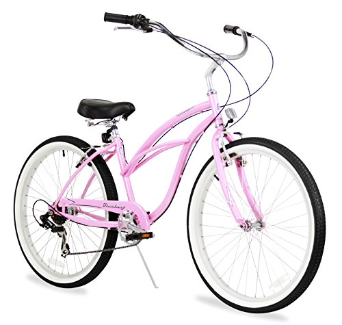 Firmstrong Urban Lady Seven Speed Beach Cruiser Bicycle, 26-Inch, Pink