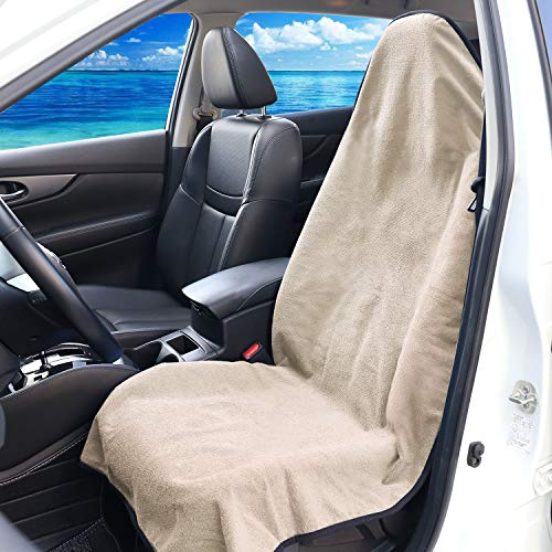 (XCAR Beige Waterproof Towel Front Seat Cover with Anti-slip Backing for Athletes Fitness Gym Running Extreme Workout, Beach Swimming Outdoor Water Sports)